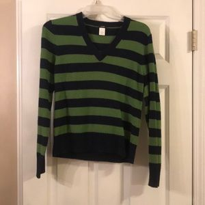J Crew Large sweater blue and green stripes